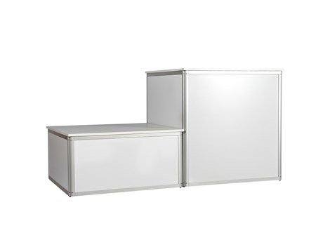 Platform, alu profile w/ white side and top plates, H: 50 W: 100 D: 100 cm